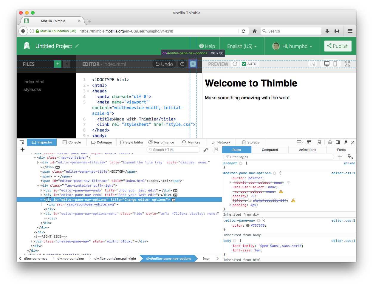 Fixing a Bug in Mozilla Thimble